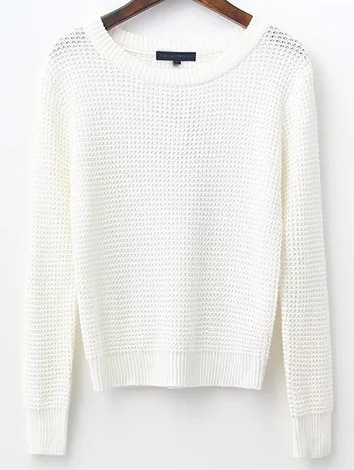 White Waffle Knit Ribbed Trim Sweater sweater161031214