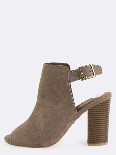 Slingback Suede Ankle Boots TAUPE