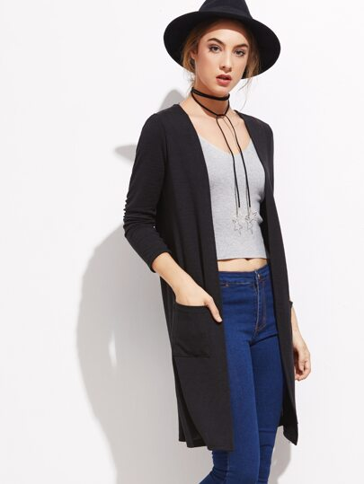 Black Open Front Pocket Long Cardigan