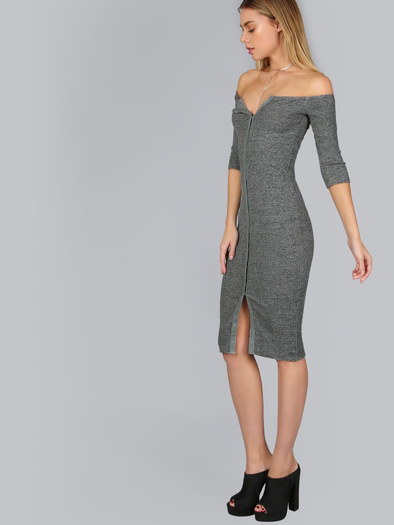 Grey Button Up Off The Shoulder Ribbed Dress dressmmc161024702