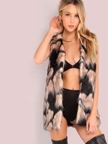 Multi Color Fur Vest Coat BLACK PINK