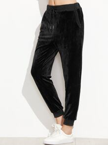 Black Drawstring Ribbed Trim Velvet Pants