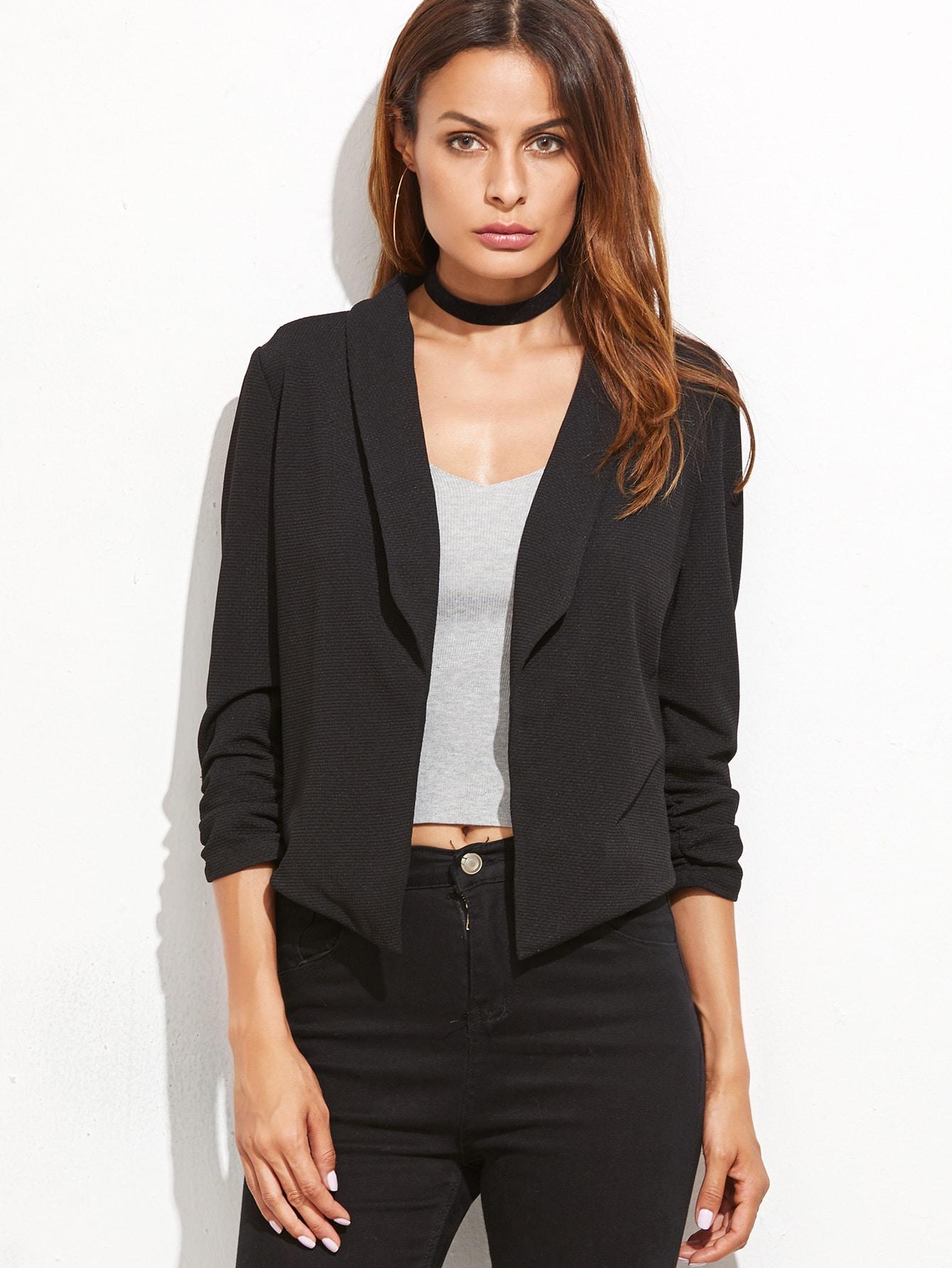 Black Shawl Collar Shirred Sleeve BlazerBlack Shawl Collar Shirred Sleeve Blazer<br><br>color: Black<br>size: L,M,S,XS