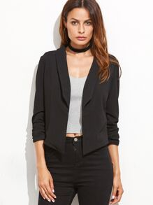 Black Shawl Collar Shirred Sleeve Blazer