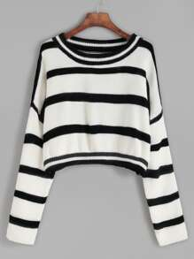 Drop Shoulder Crop Striped Sweater