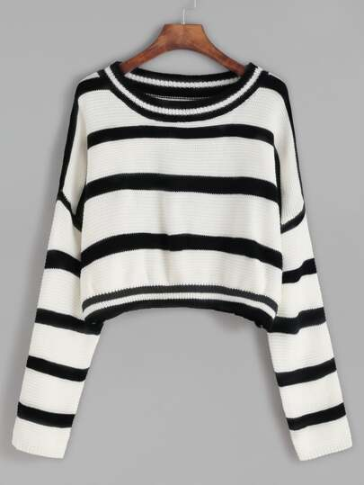 Drop Shoulder Crop Striped Sweater