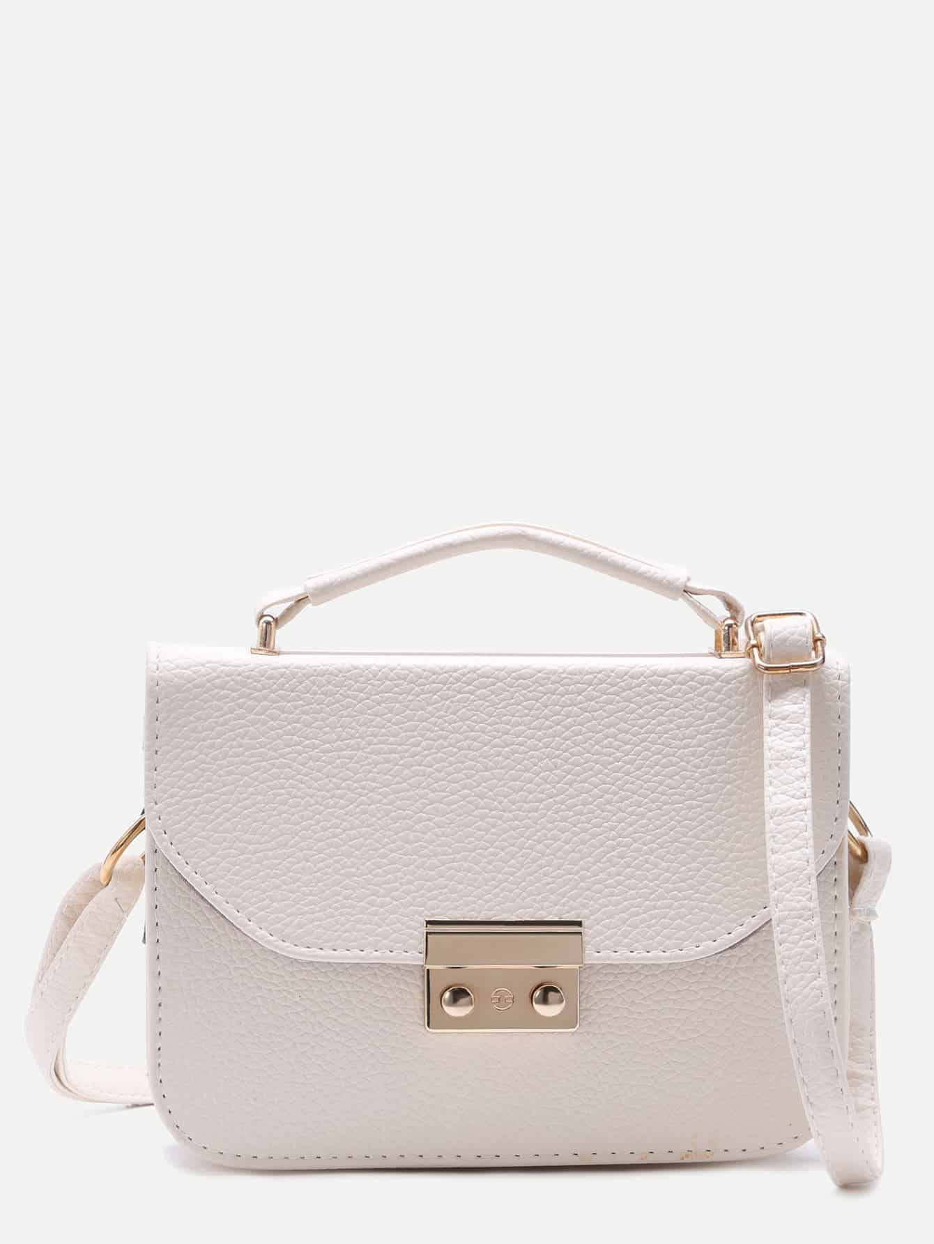 White Pebbled PU Box Handbag With Strap Image