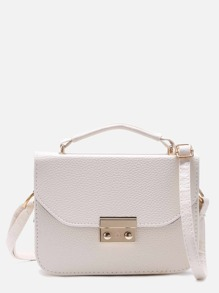 White Pebbled PU Box Handbag With Strap