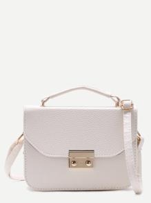 Pebbled PU-Kasten-Handtasche mit Bügel-weiß