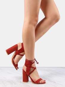Lace Up Suede Chunky Heels RUST