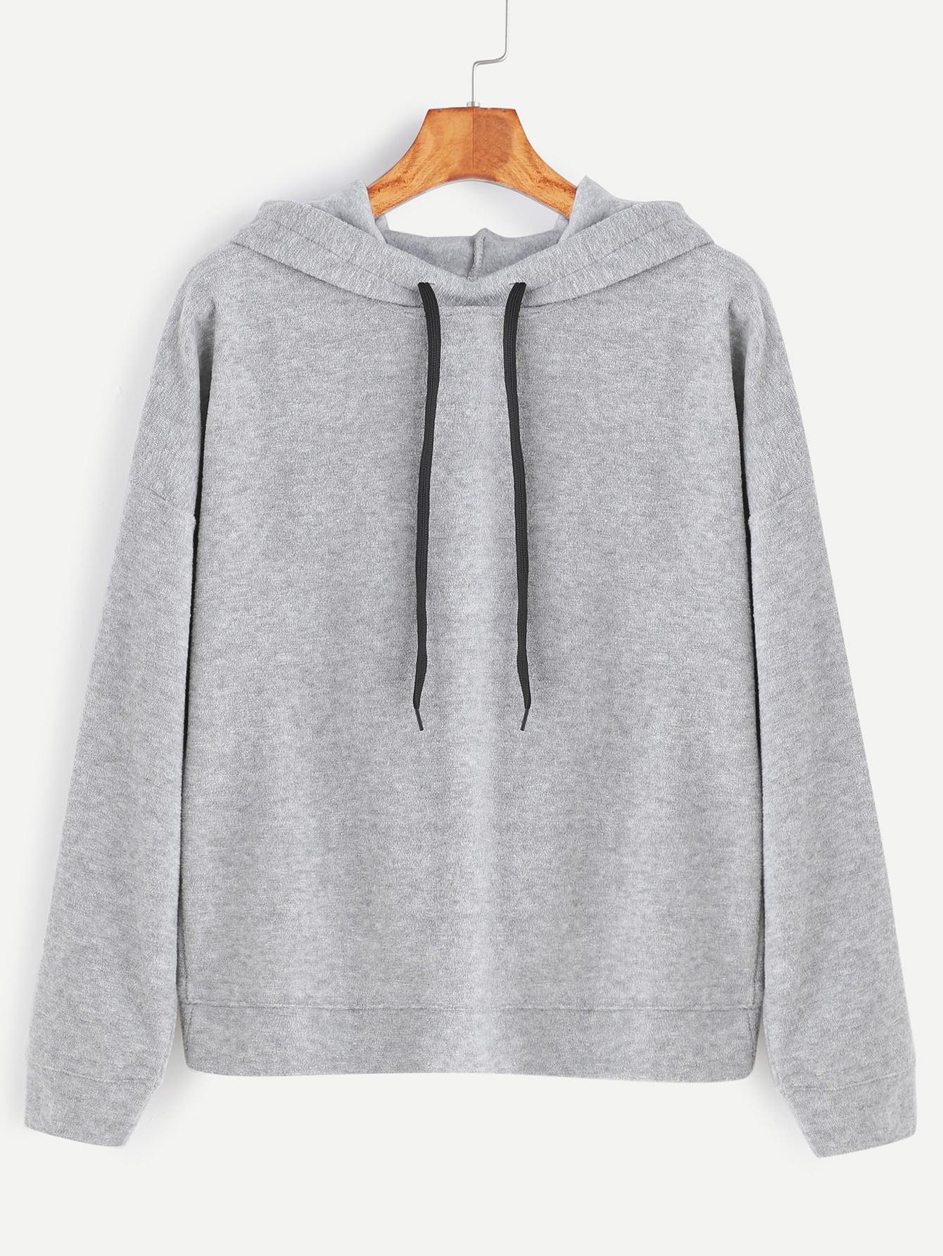 Pale Grey Overlap Back Drawstring Hooded Sweatshirt alien print drop shoulder hooded drawstring sweatshirt