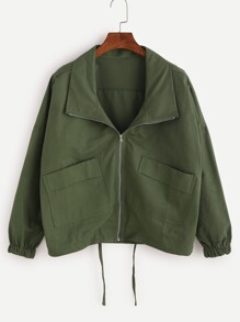 Army Green Drop Shoulder Drawstring Hem Coat