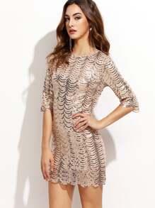 Gold Scallop Sequin Bodycon Dress