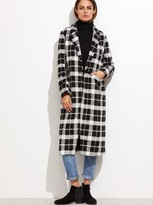 Black And White Plaid One Button Topcoat