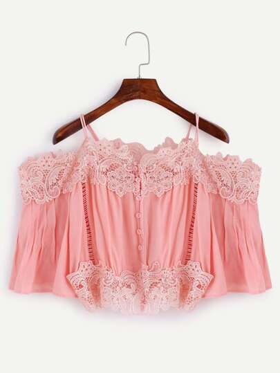Pink Cold Shoulder Lace Trim Blouse With Buttons