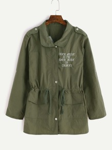 Army Green Embroidered Roll Tab Sleeve Drawstring Coat