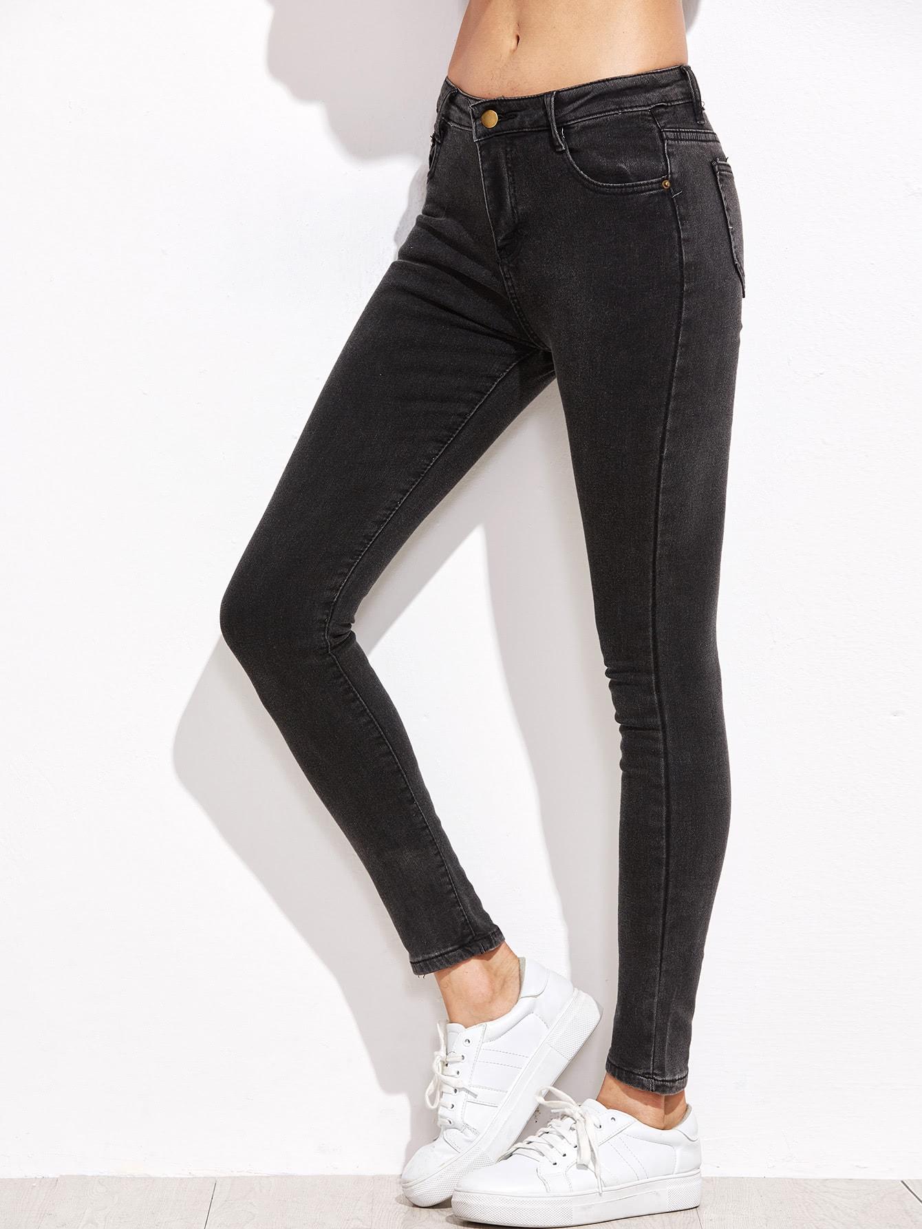 Dark Grey Pocket Skinny Jeans кресло benett jeans dark grey