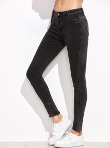 Pantalons en denim collants avec poche - gris foncé