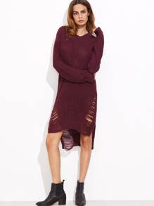 Burgundy High Low Ripped Sweater Dress