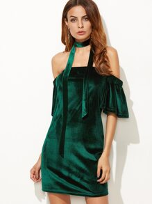 Dark Green Off The Shoulder Ruffle Sleeve Velvet Dress With Neck Tie