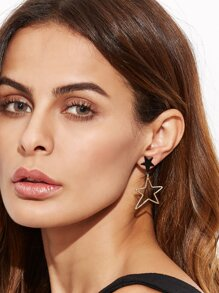 Gold Star Circle Hollow Out Asymmetrical Earrings