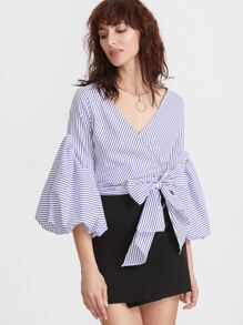 Blue Vertical Striped Lantern Sleeve Surplice Wrap Top