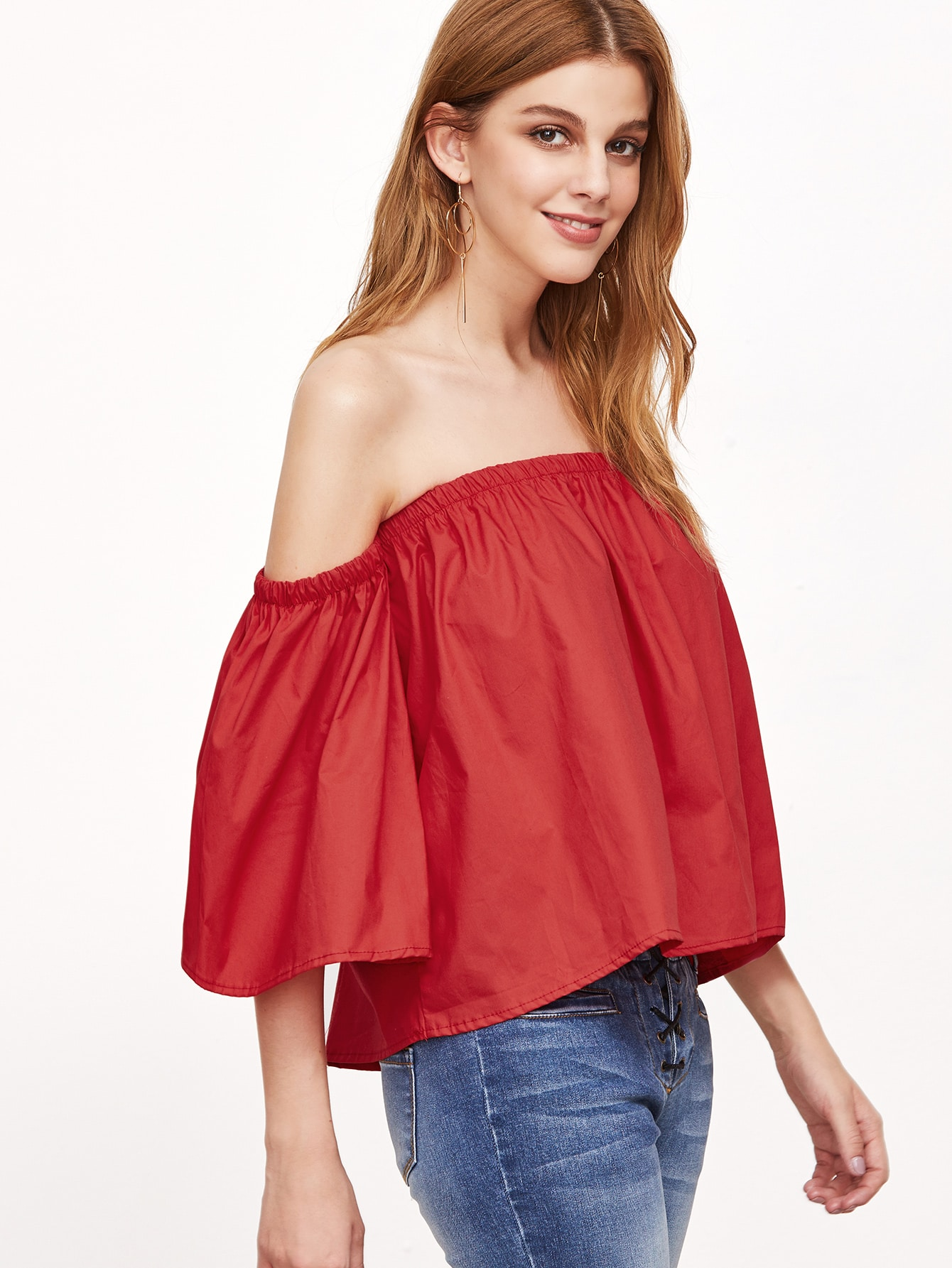 Red Off The Shoulder Crop Top blouse161011493