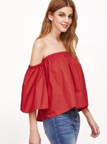 Red Off The Shoulder Crop Top