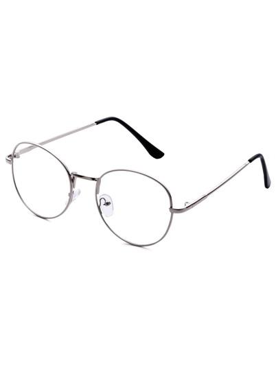 Antique Silver Frame Clear Lens Glasses