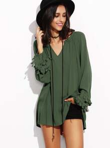 Army Green V Neck Fringe Trim Dip Hem Top