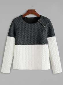 Color Block Cable Embossed Zip Trim Sweatshirt