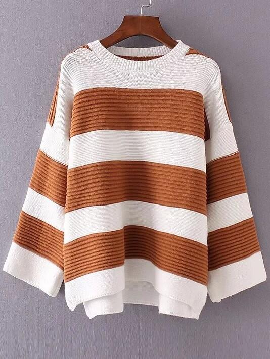 Color Block Striped Drop Shoulder High Low Knitwear sweater161017225