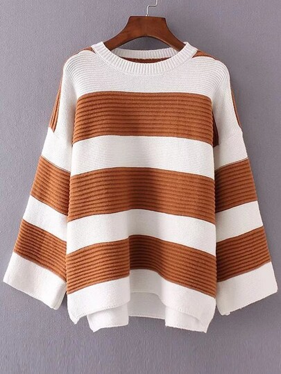 Color Block Striped Drop Shoulder High Low Knitwear