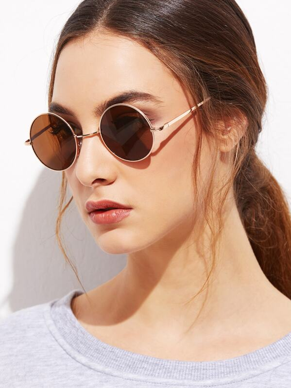 Gold Frame Brown Round Lens Sunglasses, null