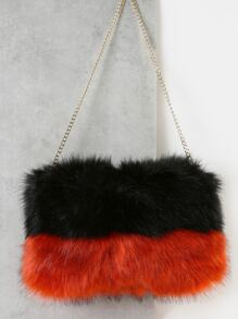 Faux Fur Duo Tone Purse ORANGE