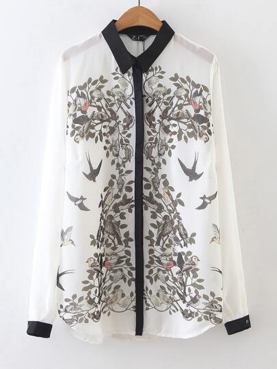 Beige Long Sleeve Birds Print Chiffon Blouse