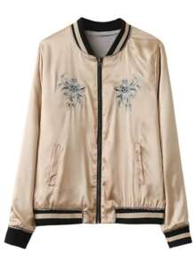 Apricot Embroidery Contrast Trim Reversible Jacket