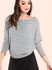 Peppered Knit Batwing Top GREY