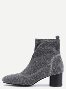 Silver Elastic Fabric Chunky Heel Short Boots