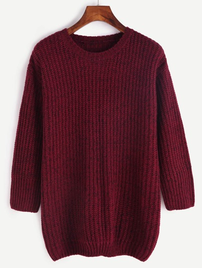 Burgundy Marled Knit 3/4 Sleeve Sweater