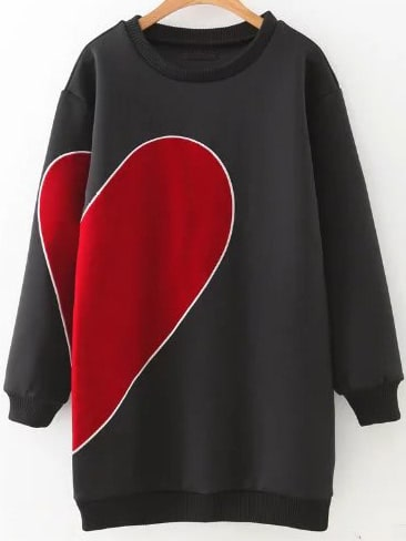 Black Heart Pattern Ribbed Trim Sweatshirt Dress dress161010203