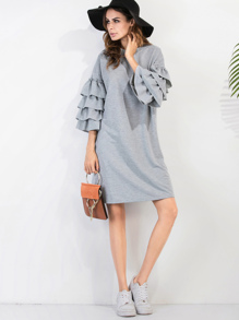 Tiered Bell Sleeve Drop Shoulder Heathered Knit Tee Dress