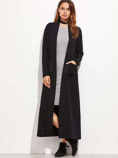 Shawl Collar Pleated Pocket Duster Coat