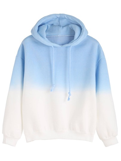 Ombre Long Sleeve Drawstring Hooded Sweatshirt