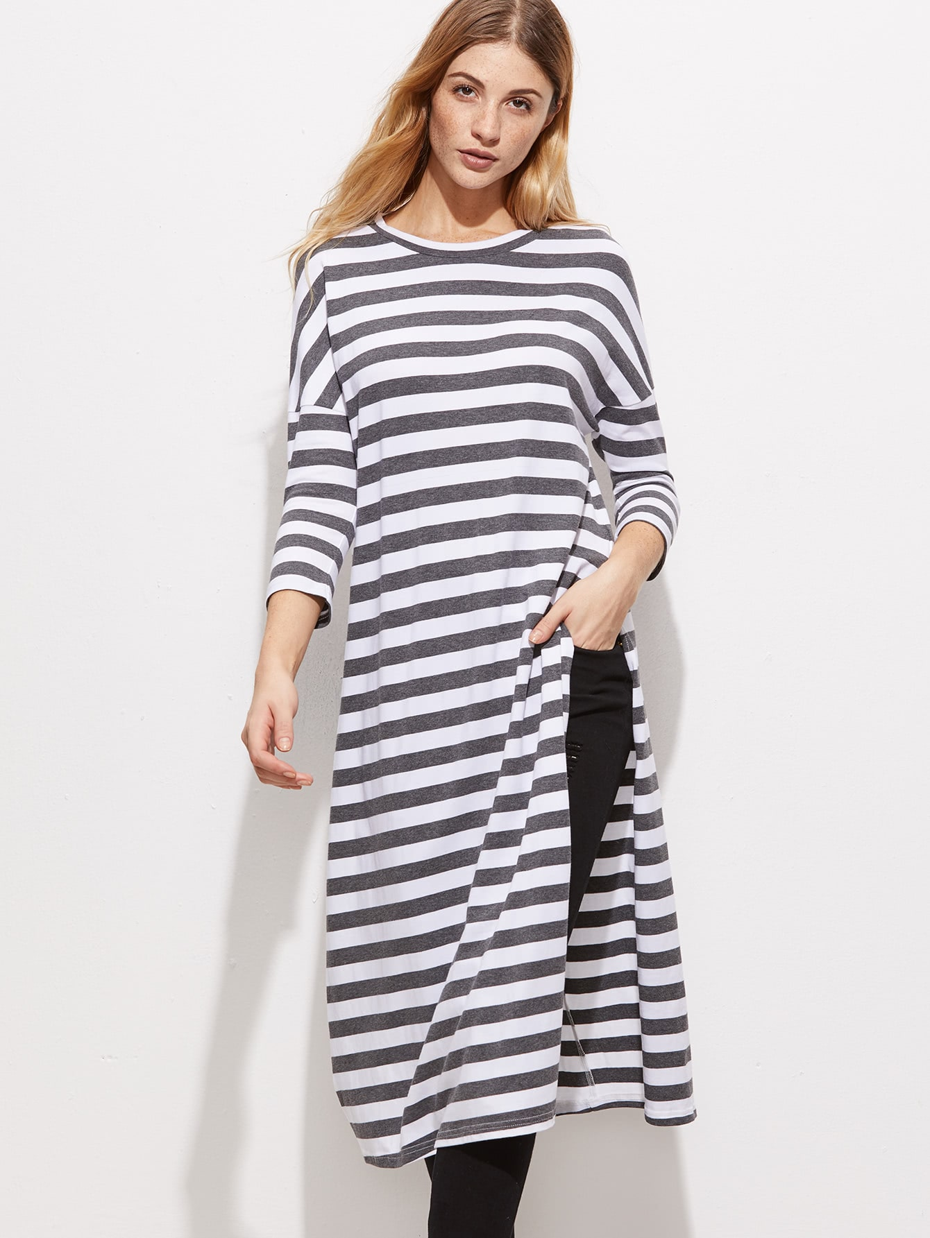 White And Grey Striped Keyhole Back Split Longline T-ShirtWhite And Grey Striped Keyhole Back Split Longline T-Shirt<br><br>color: White<br>size: L,M,S,XS