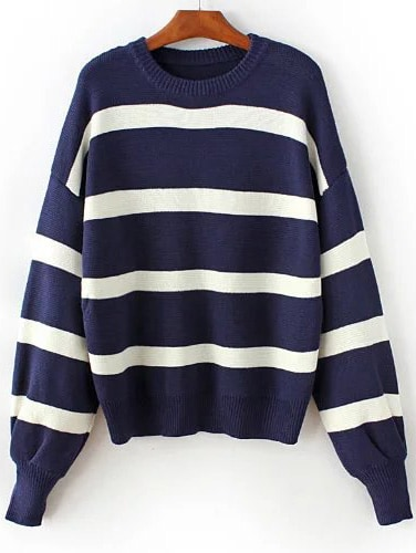 Navy Striped Ribbed Trim Drop Shoulder Sweater sweater161031201