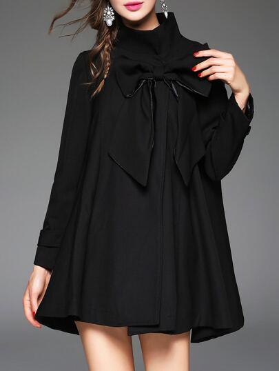 Black High Neck Bowknot Coat