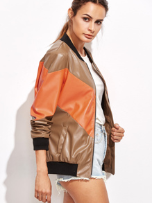 Color Block Faux Leather Cut And Sew Bomber Jacket