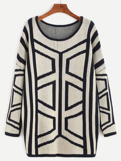 White Geo Pattern Drop Shoulder Sweater