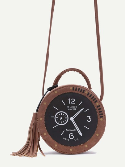 Khaki Tassel Trim Round Shaped Watch Bag